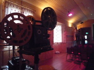 16mm projectors awaiting the audience at Hillswick Public Hall
